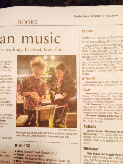 Here is a tiny photo of me and awesome poet Matt Hart published in the Gazette yesterday! This is from last year's Mission Creek Festival! (Thanks for the photo Sara!) I am psyched for this year's festival going on this weekend. :)